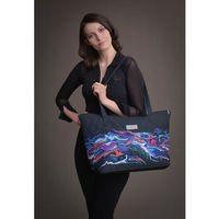 Duża torba pikowana z materiału czarna z kolorowym motywem - KOLEKCJA FALA