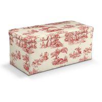 Dekoria Skrzynia tapicerowana, tło ecru, czerwone postacie, 120x40x40 cm, Avinon