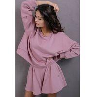 Dresowa bluza ze sznurowanym ściągaczem - różowa