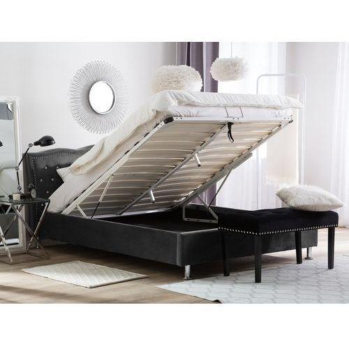 łóżko Welur Ciemnoszare Schowek Na Pościel 180 X 200 Cm Metz Beliani