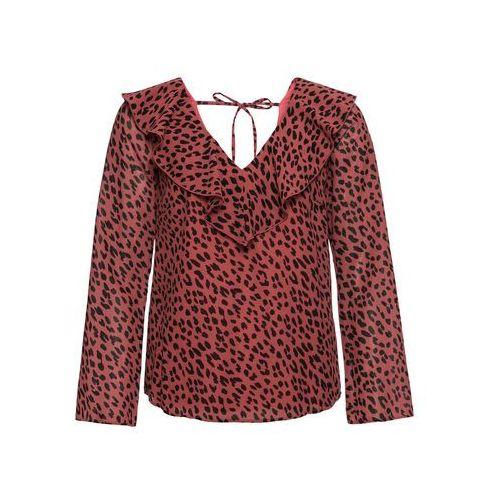 Shirt z kwiatowym haftem czerwony, Bonprix, 34-46