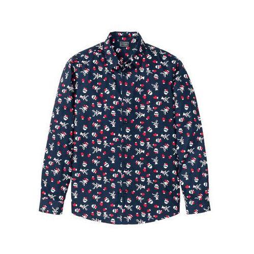 Koszula z długim rękawem i bożonarodzeniowym nadrukiem bonprix ciemnoniebieski z nadrukiem