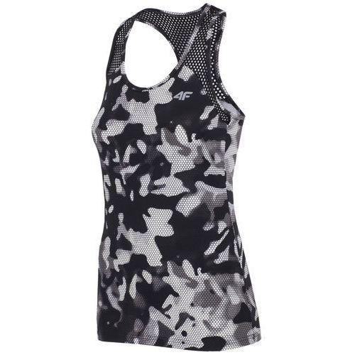 9cca1518ee6c57 4f damska koszulka sportowa h4z17 tsdf001 allover czarno-biały l  (5901965675379)