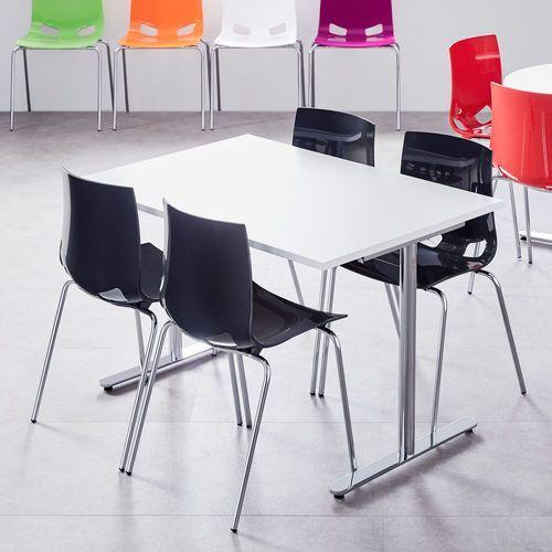 Zestaw mebli do stołówki TILO + JUNO, stół + 4 krzesła, antracyt