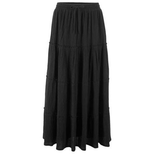 Bonprix Spódnica maxi z kreszowanej bawełny czarny