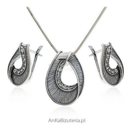 Biżuteria srebrna - komplet oksydowany z cyrkoniami