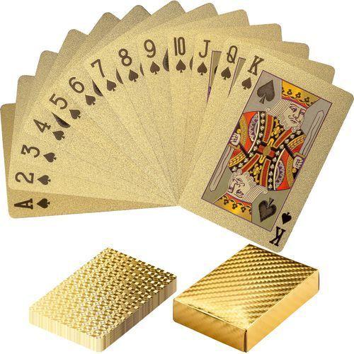 Złote certyfikowane karty talia do gry w poker - złoty marki Mks