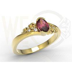 Węc - twój jubiler Pierścionek z żółtego złota ap-39z z rubinem i diamentami 0,03 ct - żółte \ rubin