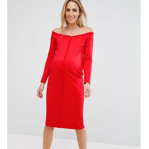 Asos maternity midi sweetheart neck button through bodycon dress - red