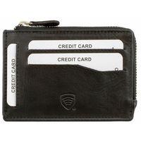 Nowoczesny Mały Skórzany Portfel RFID Antykradzieżowy Czarny - Czarny mat