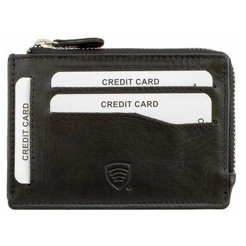 Nowoczesny mały skórzany portfel rfid antykradzieżowy czarny - czarny mat marki Koruma®