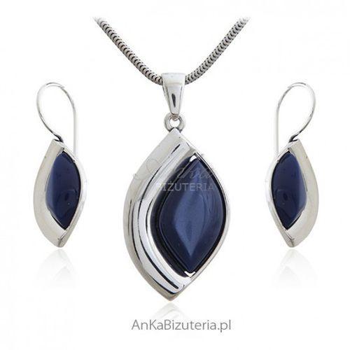ankabizuteria.pl Komplet biżuteria srebrna z granatowym uleksytem - śliczny
