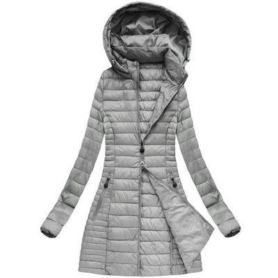 00b911f349954 Dłuższa pikowana kurtka z kapturem szara (xb7127x) - szary, S'west, 36-44  goodlookin.pl