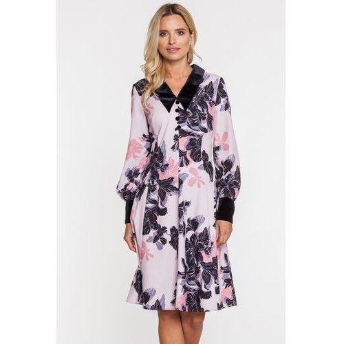 ad96231ed2 Wzorzysta sukienka z szerokim kołnierzem - Paola Collection