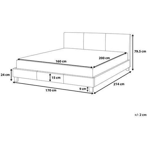 Łóżko czarne skóra ekologiczna 160 x 200 cm ORELLE, kolor czarny