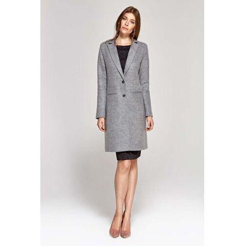 Jednorzędowy płaszcz damski - szary, 1 rozmiar