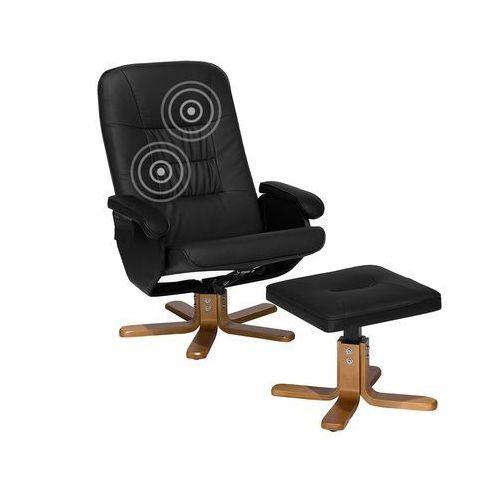 Fotel Czarny Ekoskóra Funkcja Masażu Z Podnóżkiem Relaxpro Beliani