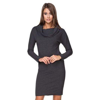 ddb5f8c05f Czarna sukienka dresowa dopasowana z lejącym golfem