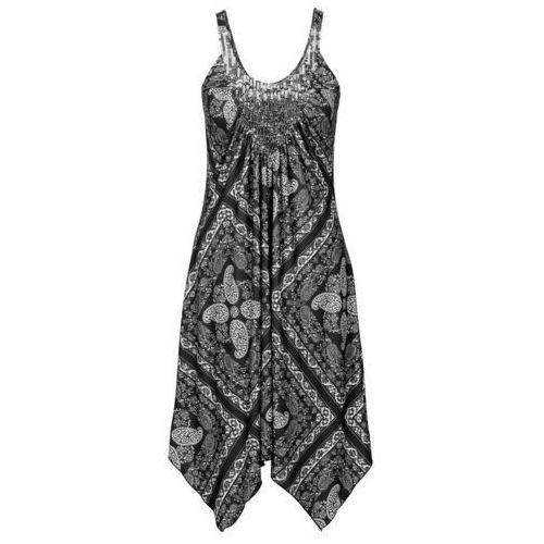 Sukienka czarno-szaro-kolorowy Bonprix