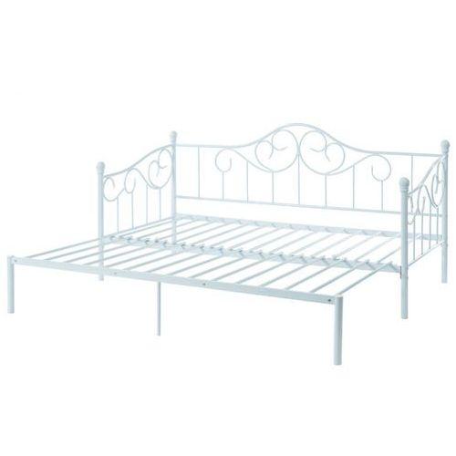łóżko Sebille Wysuwane I Rozkładane Metal 90 200 Cm Kolor Biały Vente Unique