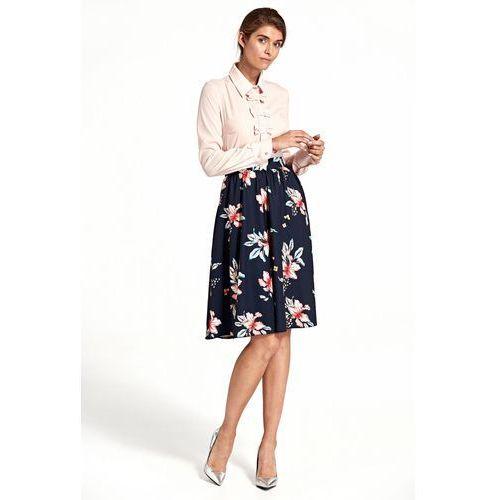 Nife Rozkloszowana spódnica do kolan - kwiaty/granat - sp40