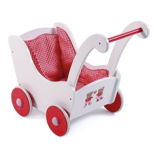 drewniany wózek dla lalek retro czerwony marki Bayer chic