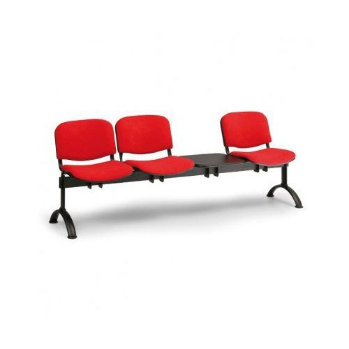 B2b partner Ławka do poczekalni tapicerowana viva, 3-siedziska + stolik, czarny, czarne nogi