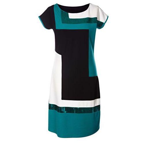 Sukienka bonprix czarno-ciemnoszmaragdowy