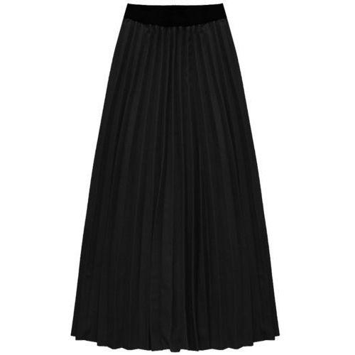 Plisowana spódnica maxi czarna (135art) - czarny, Made in italy