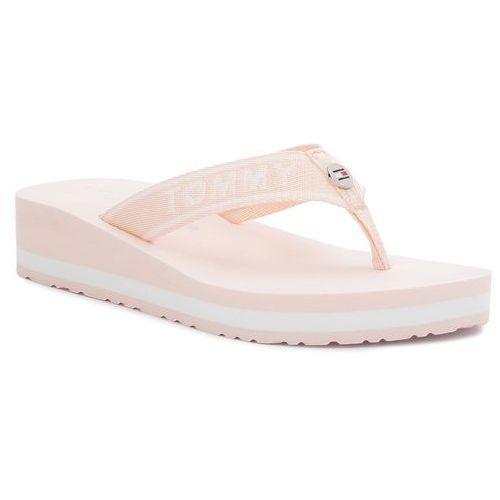 Japonki - tommy branding beach sandal fw0fw02953 silver peony 642 marki Tommy hilfiger
