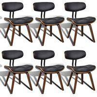 Vidaxl zestaw krzeseł z oparciem ze skóry syntetycznej, 6 sztuk
