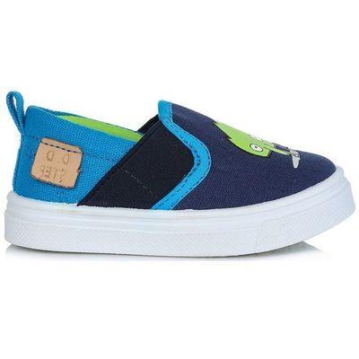 1fae1104 D-d-step chłopięce tenisówki slip-on z potworem 30 niebieskie  (2021130263101) Mall.pl