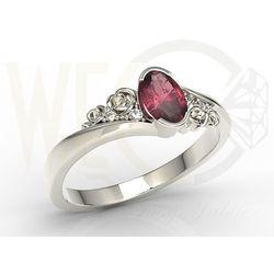 Pierścionek z białego złota AP-39B z rubinem i diamentami 0,03 ct - Białe \ Rubin, kolor czerwony