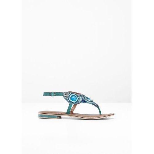 Sandały skórzane japonki bonprix turkusowy, 1 rozmiar