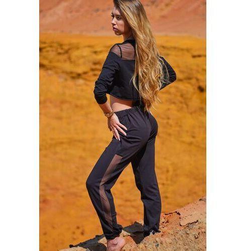 Czarne dresowe spodnie z siateczkowym panelem, dresowe