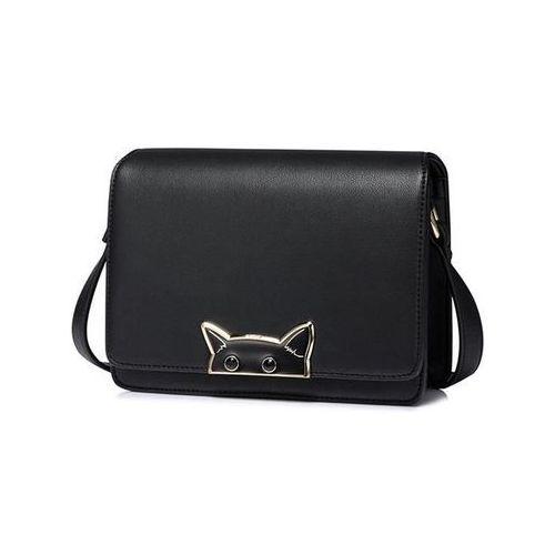 Złota torebka damska listonoszka z kotem złoty (Nucelle)