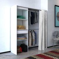 Vidaxl szafa na ubrania z zasłoną regulacją 121-168 cm biała (8718475977391)