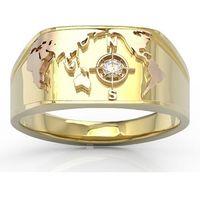 Sygnet morski z żółtego i różowego złota z brylantem sj-1406zp - żółte i różowe marki Węc - twój jubiler