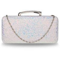 Mieniąca brokatowa torebka wizytowa - niebieski || różowy || biały