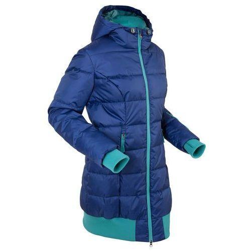 Długa kurtka pikowana bonprix kobaltowo-turkusowy matowy, pikowana