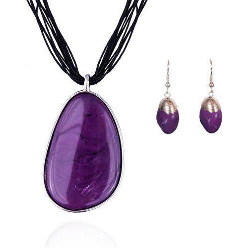 Komplet z fioletowymi kamieniami: naszyjnik i kolczyki, kolor fioletowy