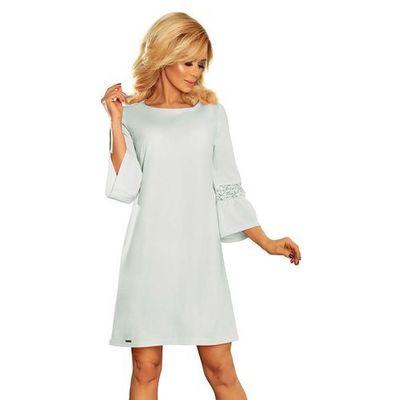 ba41f3fc26 Błękitna Sukienka Wizytowa z Koronką na Rękawie MOLLY