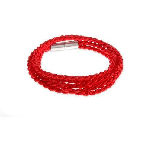 BRANSOLETKA TRZY SZNURY CZERWIEŃ hippie kolor czerwony styl surferski magnes