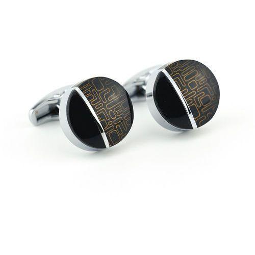 Onyx-art Okrągłe spinki do mankietów kc-1068 london