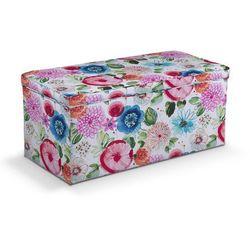 skrzynia tapicerowana, kolorowe kwiaty na białym tle, 120x40x40 cm, new art marki Dekoria