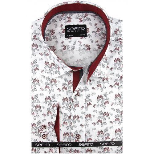 1abdd9c92 Zobacz w sklepie Koszula Męska Sefiro biała w motylki SLIM FIT na spinki  lub guzik A103, kolor różowy