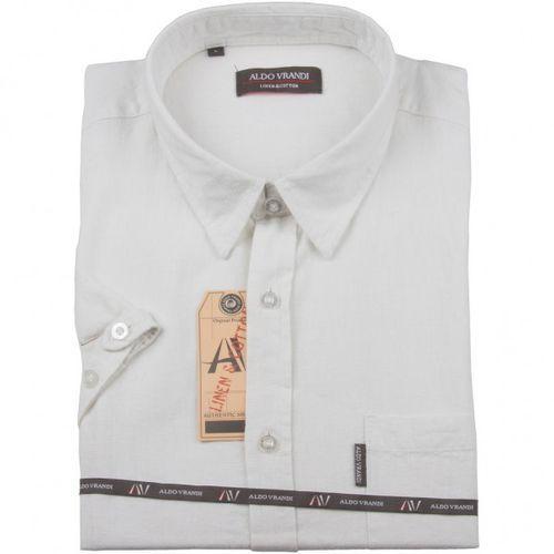 Koszula lniana Aldo Vrandi z krótkim rękawem, kolor biały