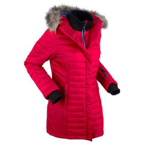 Długa kurtka outdoorowa pikowana bonprix ciemnoczerwony, kolor czerwony