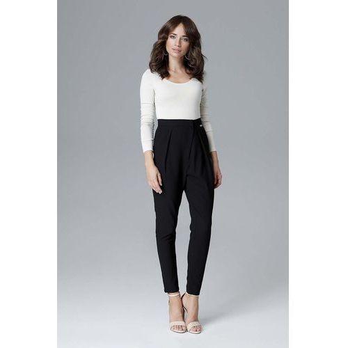 Katrus Czarne nowoczesne kopertowe spodnie