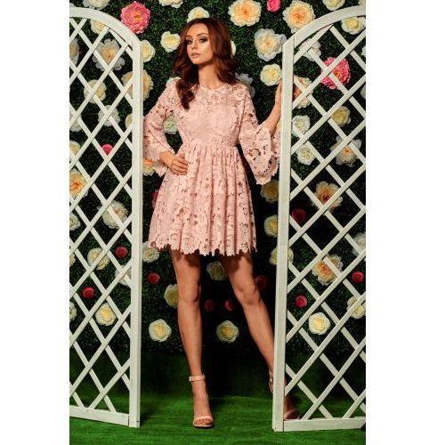Romantyczna sukienka z koronki pudrowy róż Ceny i opinie